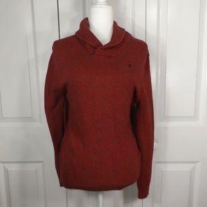 Izod Red & Gray Knit Sweater w Thick Collar L